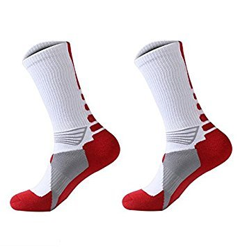 TOOGOO(R) 1 Pair Professional Basketball Socks Athletics Socks Outdoor Sports Socks Stocking(white)
