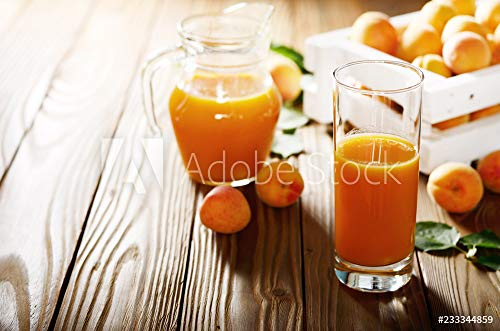 druck-shop24 Wunschmotiv: Apricot Smoothie in Glass on Wooden Table with Crate and jug at Background #233344859 - Bild als Foto-Poster - 3:2-60 x 40 cm / 40 x 60 cm - Apricot Smoothie