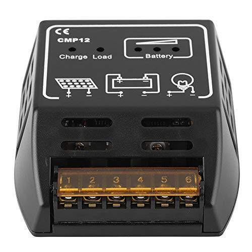 Especificaciones: Material: poliestireno. Color negro. Voltaje del sistema: DC12V Consumo automático: 10 mA. Corriente de carga nominal: 10 A. Corriente de carga nominal: 10 A. Protección de sobrecarga: 14,4 V/28,8 V. Protección contra descarga exces...