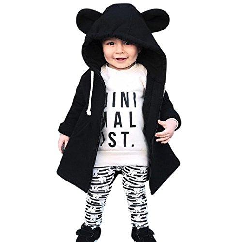 long® 1 PC (0-5 Jahre alt) Kinder Baby Jungen Mädchen Dicker Mantel mit kapuze Herbst Winter Warme Jacke Outwear Outfits Oberbekleidung (110CM(3-4 Jahre alt), Schwarz) (Jungen Dunkel-lila Kleid Shirt)