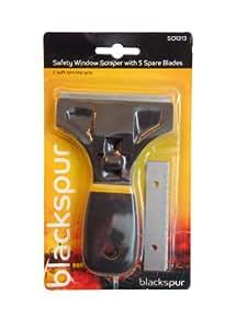 Blackspur Grattoir à verre/ vitre multifonction avec 5lames de rechange