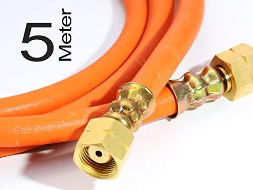 Hochdruck HD Gasschlauch 5 m (500 cm) 3/8 Zoll Gas-Schlauch Gasbrenner, Aufschweißbrenner, Industrie, Gewerbe, Straßenbau, Dachdecker Propan Schlauch