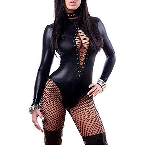 EisEyen Damen Leder PU Bodysuit Langarm Overall Jumpsuit Kostüm Sexy Dessous Clubwear Catsuit Reizwäsche - Tattoo Bodysuit Kostüm