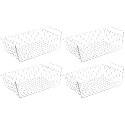WELLGRO 4er Set Schrankkörbe zum Einhängen aus Metall - ca. 41 x 25 x 14 cm (LxBxH) - schaffen Sie zusätzlichen Platz - weiß