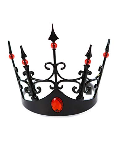 costumebakery - Kostüm Accessoires Zubehör Schwarze Königinnen Krone mit Roten Juwelen, Queens Black Crown with Red Jewels, perfekt für Halloween Karneval und Fasching, Schwarz