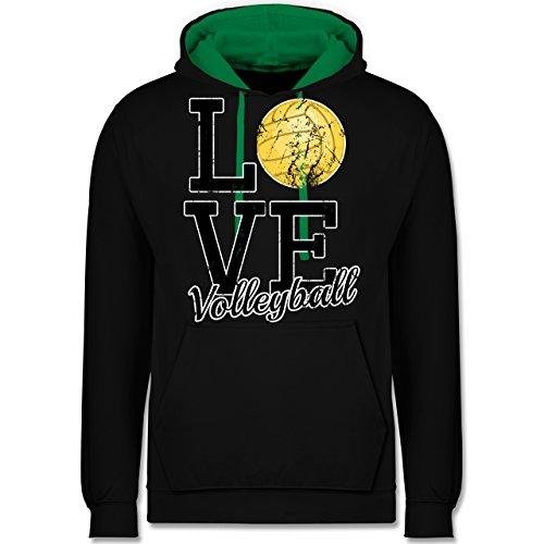 Volleyball - Love Volleyball - Kontrast Hoodie Schwarz/Grün