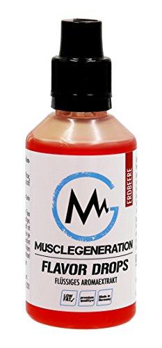Musclegeneration | Flavor Drops Aroma Tropfen | Flavdrops für Quark, Joghurt, Protein Shake, Müsli etc. | 50ml | (Erdbeere)