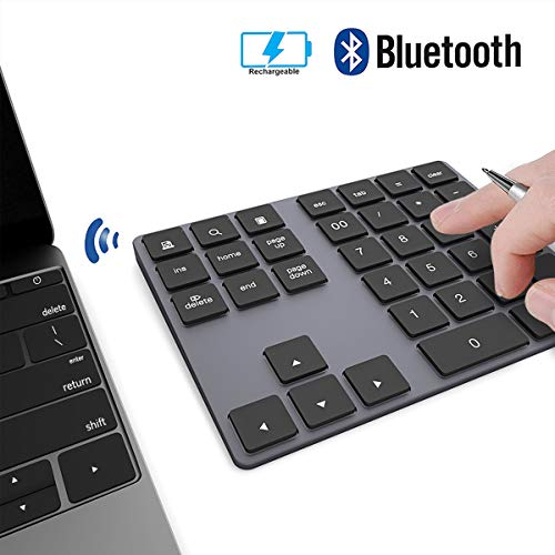 Ziffernblock JOYEKY Nummernblock Bluetooth/ Numpad Wireless mit Multi-Funktion, Aluminium 34 Tasten, kompatibel mit Windows, Android, iOS für PC, Notebook, Schwarz