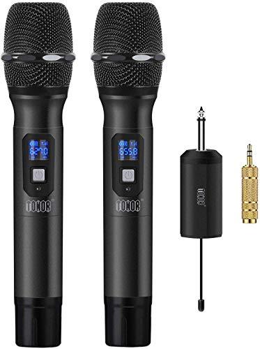 """TONOR Drahtlos Handmikrofon, 25 Kanal UHF Handheld Mikrofone mit Mini Tragbarem Empfänger 1/4"""" Ausgang, für Kirche/Zuhause / Karaoke/Geschäftstreffen,Schwarz"""