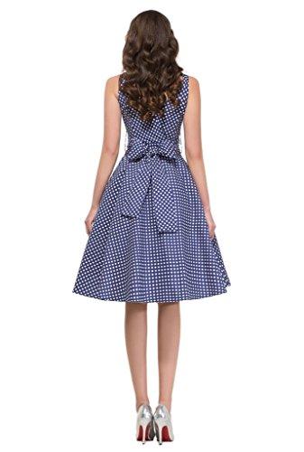 marloca Vintage Années 50femmes filles Pois Swing robes Soirée Robe Bleu - Noir foncé