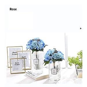 FCL RAN Flores Artificiales de Seda, Rosas Artificiales y hortensias, Ideales para Ramo de Novia o decoración de Mesa de Boda.