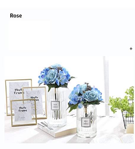 FCL RAN Künstliche Blumen aus Seide, Rosen und Hortensien, ideal für Brautstrauß oder Hochzeits-Tischdekoration. blau (Blaue Hortensie Brautstrauß)