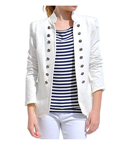 CuteRose Womens Fall Winter Double-Breasted Slim Fitting Blazers Coat Tops White L -