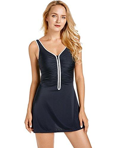 Delimira Damen Badekleid Badeanzug - Reißverschluss Einteiler mit Röckchen Schwarz 40 (Tankini Modest Badeanzüge)