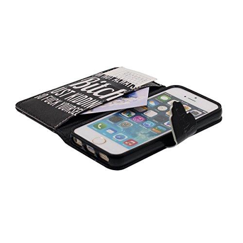 Rabat Portefeuille Apple iPhone 5S / 5 Coque Noir, PU Cuir Lumiere iPhone SE Case Cover, Belle Apparence Design Original Fleur Animal Motif Serie - Chat Color-4