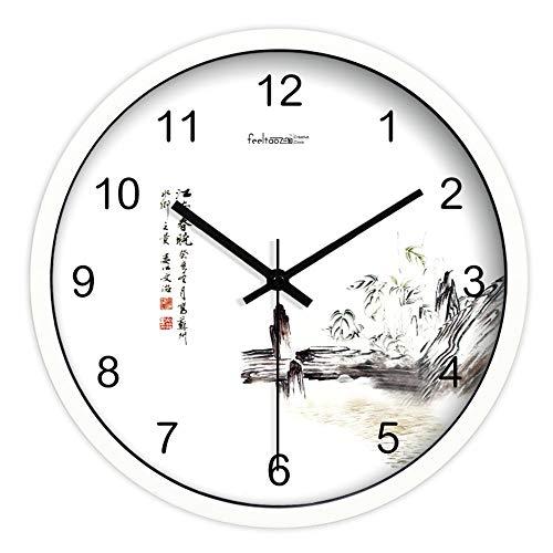 Homeclock inchiostro orologio cinese da pittura retro studio soggiorno arte orologio classifiche da parete classiche 14 pollici cornice bianca