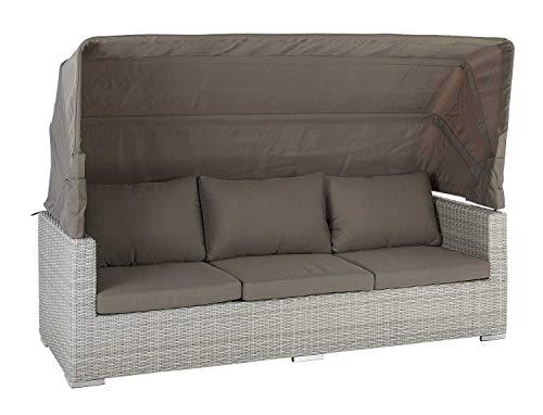 Gartenlounge Sitzgruppe Gartensofa | Braun-Grau | Aluminium | Kunststoffgeflecht | inkl. Kissen