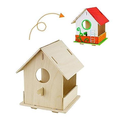 Robotime 3D Wooden Puzzles – DIY Bird House Child Educational Toys DIY Kit Kids Paint(Birdhourse1)
