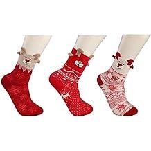 BESTEEL 3-6 pares Algodón Navidad Calcetines para Hombres Mujeres Niñas Niños Dibujos animados Invierno