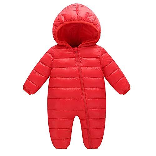 Webla Baby Süßigkeiten Farbe Kapuze Mäntel Overall Outwear Jungen&Mädchen Winter Dicke Strampler Warmer Oberbekleidung (6-24 Monate) (12-18 Monate, Rot) (Mädchen Winter Mantel 14 16)