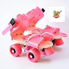 Toy Arena Adjustable Quality Quad Roller Skates Inline Skates Suitable for Age Group 6 to 14 Years (Pink)