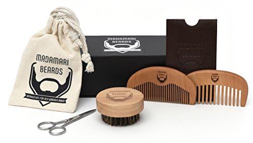 Mann-schablonen Kleiner (Hochwertiges Bartpflege-Set – Zwei Bartkämme – Runde Bartbürste – Bartschere – Wildschweinborsten – Geschenkbox - Kunst-Lederetui)