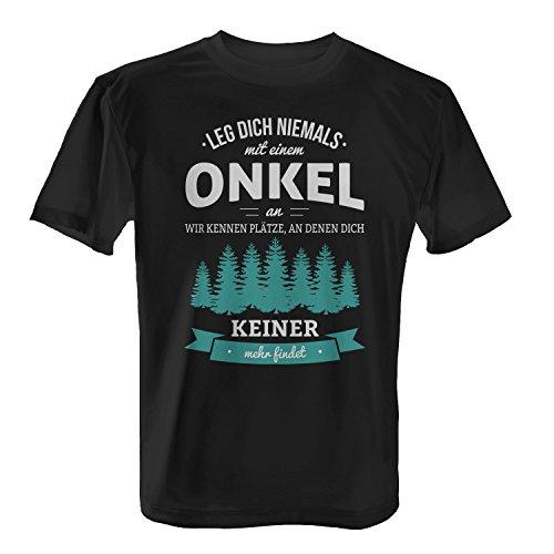 Fashionalarm Herren T-Shirt - Leg dich niemals mit einem Onkel an | Fun Shirt mit Spruch als Geburtstag Geschenk Idee Schwarz