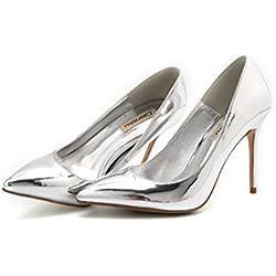 Plata Mujer Vintage Sexy Señalados Tacones De Moda Elegante Señora PU Zapatos De Cuero Confortable Bajo La Boca Zapatos De La Boda ( Color : Silver 8cm , Tamaño : 37 )