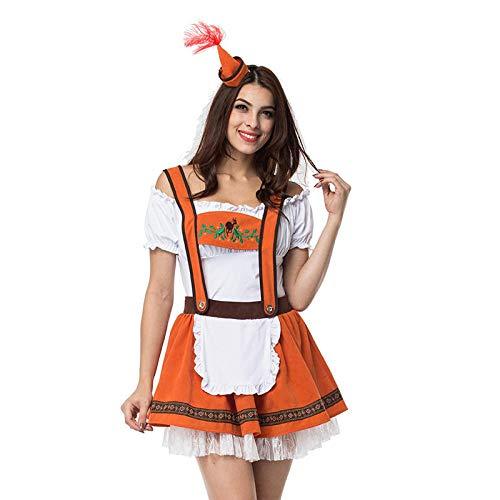 S-5XL Sexy Oktoberfest Bier Kostüm Deutsch Bayerisches Bier Mädchen Wench Maiden Dirndl Cosplay Kostüme@Orange_5XL_Oktoberfest Kostüme (Sexy Kostüm Bier)