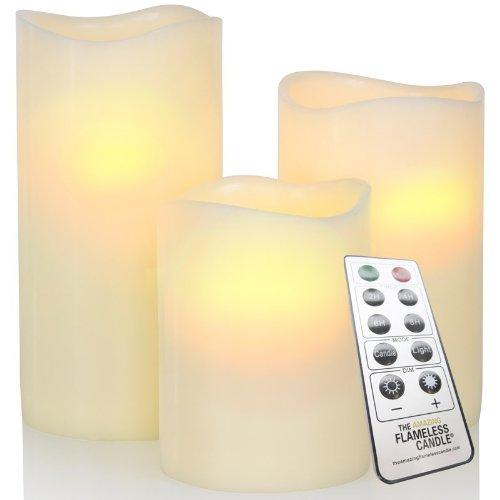 LED-Echtwachskerzen 3er-Set mit Fernbedienung Elfenbein