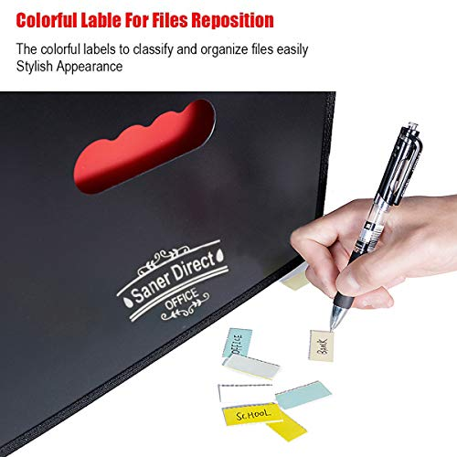 SanerDirect Expanding File Folder, 24 Pockets Multi-Color Accordion A4 Documents File Bill Letter Organiser, Plastic Portable Filling Storage with Big Capacity Expandable Wallet Stand Img 4 Zoom