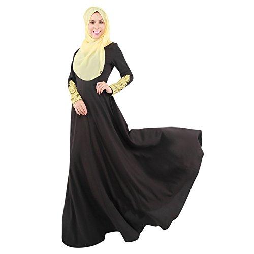 Hibote Vestido de Turquía Maxi Manga Larga Mujer Abaya islámico Mujer Musulmana Ropa de Las Señoras de Las Mujeres Kaftan Largo de Encaje Negro M