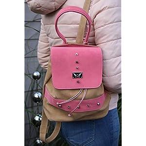 brombeer/beiger Leder Rucksack Cityrucksack Lederhandtasche Damenhandtasche Backpack