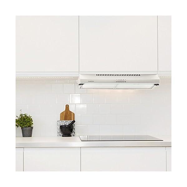 Klarstein Purista Campana extractora – Extractor bajo de 60 cm, Montaje en pared, Pantalla de vidrio plegable…