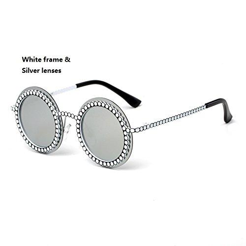 Shiny shop Runde Kind Frameless Punk Sonnenbrille Mode Kinder Polaroid Sonnenbrille Jungen Mädchen Kinder Baby Brille UV400 Spiegel Dekoration (Color : Silver)