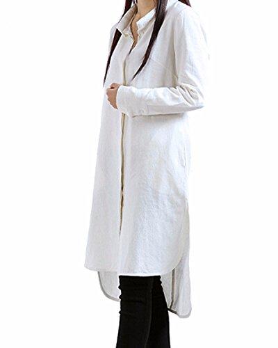 ZANZEA Femme Tunique en Coton Linge Mini Robe Baggy Longue manche Tops Chemise Hauts lâche Blanc