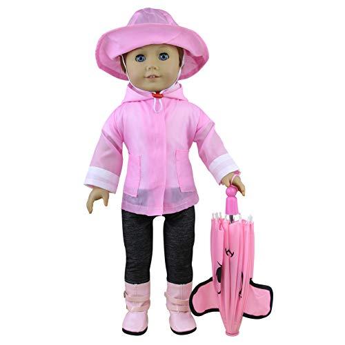 ZITA ELEMENT 6tlg Set Puppe Kleidung Regenmantel Regenkleidung Outfit Kostüm für American 18 Zoll Girl Doll Puppenkleidung Puppenkleid Bekleidung ()