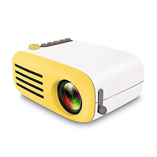 Micro Proiettore Portatile Teepao Supporta 1080P Full HD Mini Portatile Videoproiettore 30000 ore Compatibile con TV HDMI USB AV TF Dispositivo - Giallo e Bianco