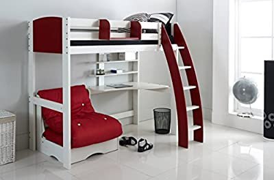 Scallywag Kids High Sleeper Bed - White/Red - Curved Ladder - Integral Desk & Shelves - Chair Bed - Hook on Shelf. Made In The UK.