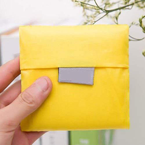 Fantasyworld Einkaufstasche aus Oxford-Gewebe, einfarbig, kompakte Größe, faltbar, umweltfreundlich, tragbar, wiederverwendbar für Gewürze - Gelb