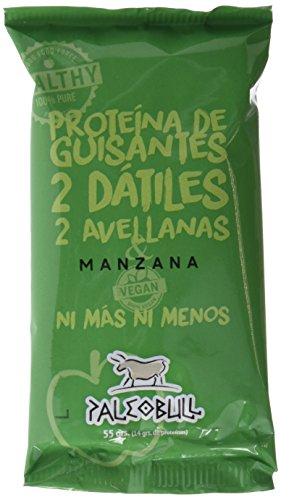 Barrita Energética Paleo 100% natural - Alta en proteínas - Manzana Vegana (55g) - Pack Ahorro de 15 Barritas