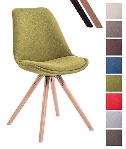 Clp sedia design toulouse con seduta imbottita e rivestita in tessuto | sedia da pranzo con scocca in stoffa| sedia visitatore con telaio in legno verde colore base naturale, gambe rotonde