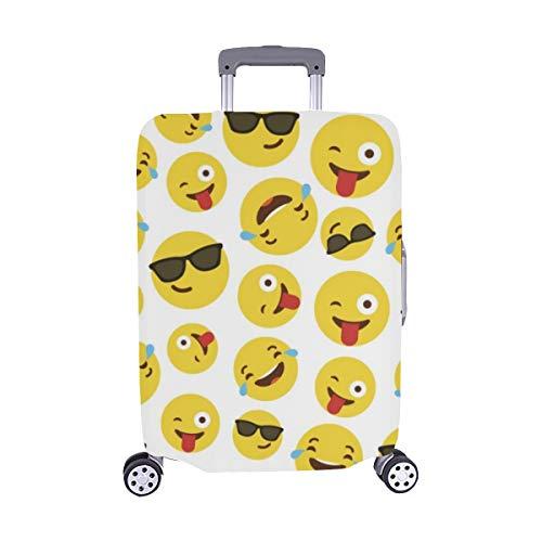 (Nur abdecken) Emoji-Muster auf weißem Muster-Staubschutz Trolley Protector case-Koffer Reisegepäck-Schutzkoffer-Abdeckung 28,5 X 20,5 Zoll