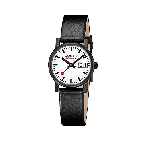 Mondaine Women's Quartz Watch with White Dial Analogue Display and Black Leather Strap A669.30305.61SBB