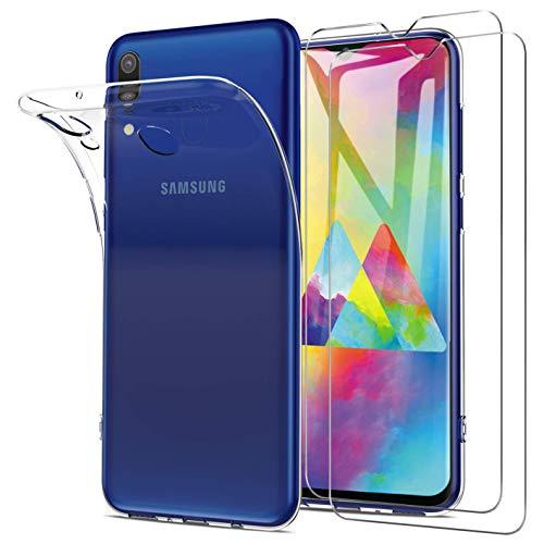 Samsung Galaxy M20 Hülle + Panzerglas Set, [1 Hülle + 2 Panzerglas] Schutzhülle Handyhülle [Ultra Dünn] Schutzfolie Folie Glas 9H Panzerglasfolie TPU Silikon Case Cover für Samsung Galaxy M20