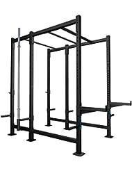 CAPITAL SPORTS Dominate Edition Set 10 Basis Rack musculación Rig (Safety spotter hasta 250kg, jaula entrenamiento, barra dominadas flexiones, ganchos en j, soporte barra olímpica, apoyo discos de peso, ampliable, gimnasio negro)