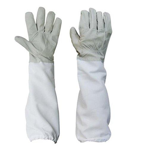 1 paire de l'apiculture en peau de mouton gants de protection avec ventilé manches longues pour apiculteurs XXL Bleached cloth