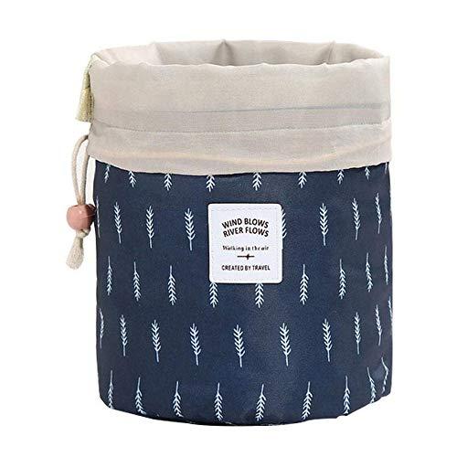 Großes Kosmetiktasche Multifunktional Drawstring Storage Bag Barrel Reisen Kulturbeutel Makeup Tasche Kosmetikkoffer Tragbar (Feder)