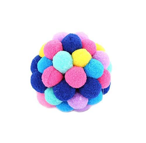 Koojawind Haustier Katzenspielzeug Bunte Handgefertigte Glocken Bouncy Ball Eingebaute Katzenminze Interaktives Spielzeug, Bouncy Ball + Plastic + Catnip Material FüR Katzen Und Hunde Spielzeug