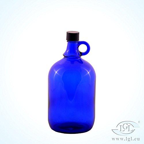 Schraubverschluss Glas-wasser-flaschen (Blaue Glas Flasche 2 Liter Wasserflasche Schraubverschluss Kunststoff schwarz - Henkelflasche Blauglas, ideal für Aquadea Kristall - Wirbel Wasser, Zwei Liter)